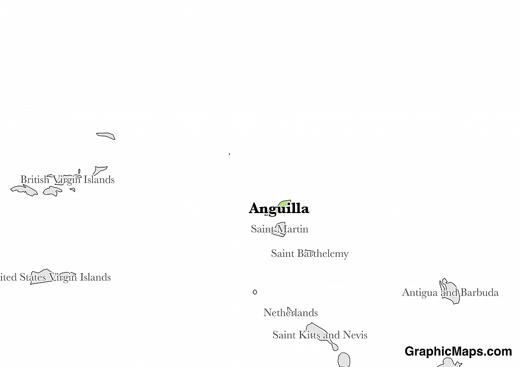 Map showing the location of Anguilla