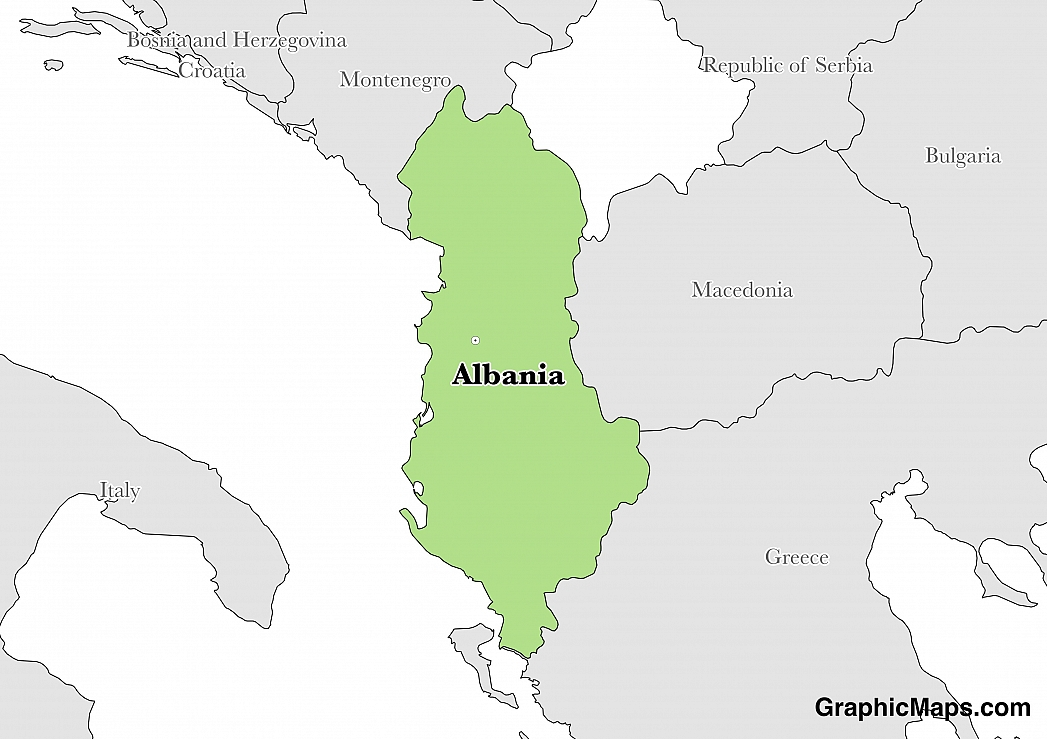 Map showing the location of Albania