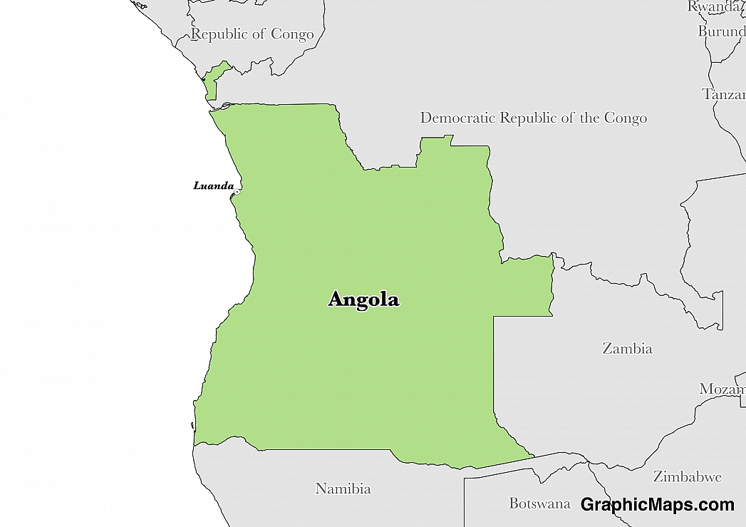 Map showing the location of Angola