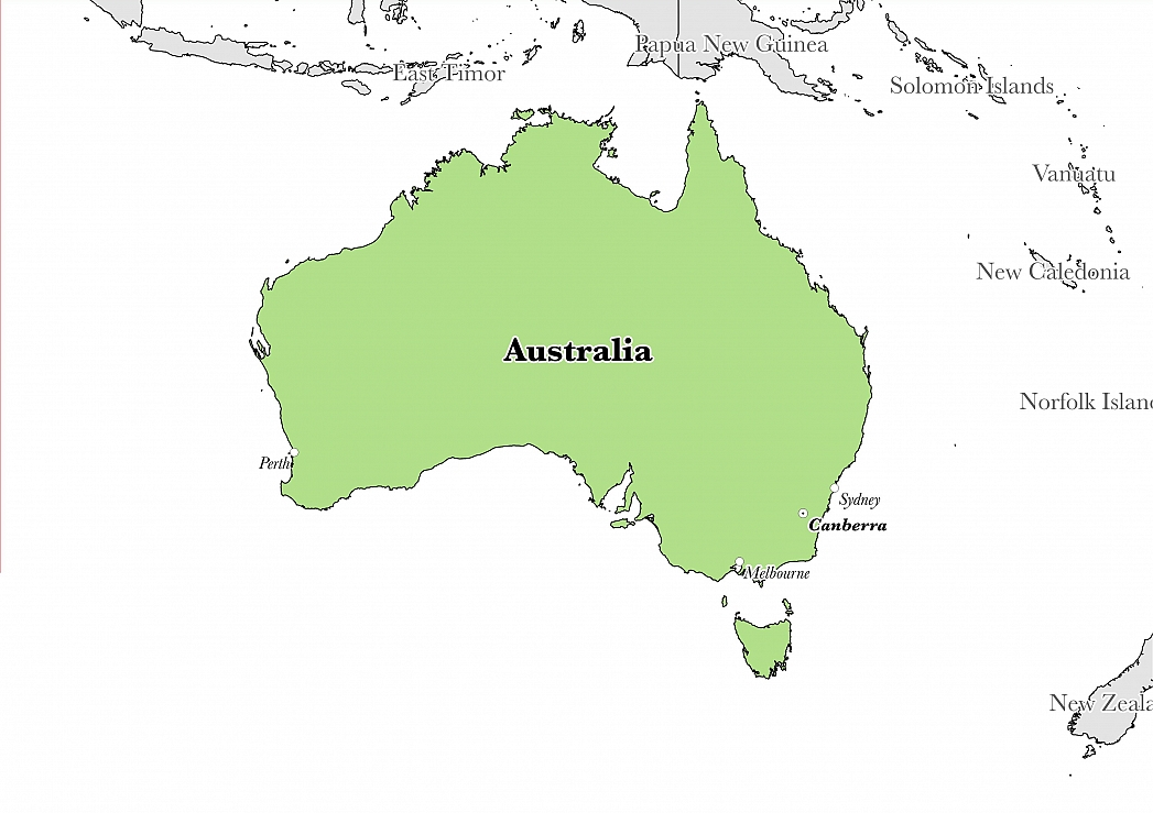 Map showing the location of Australia