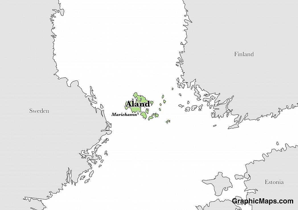 Map showing the location of Aland Islands