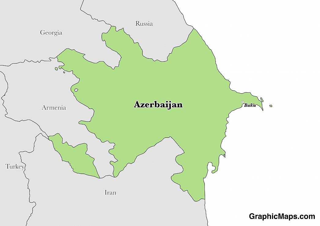 Map showing the location of Azerbaijan