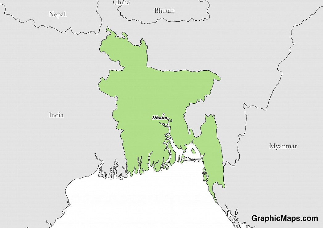 Map showing the location of Bangladesh