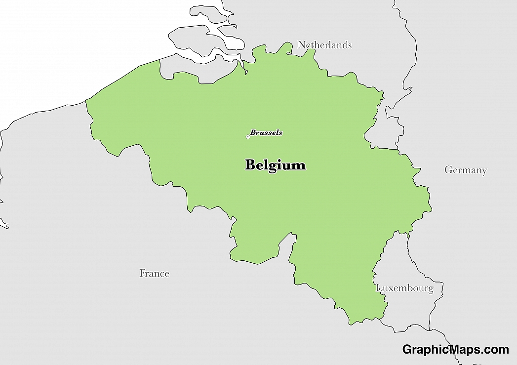 map showing the location of belgium