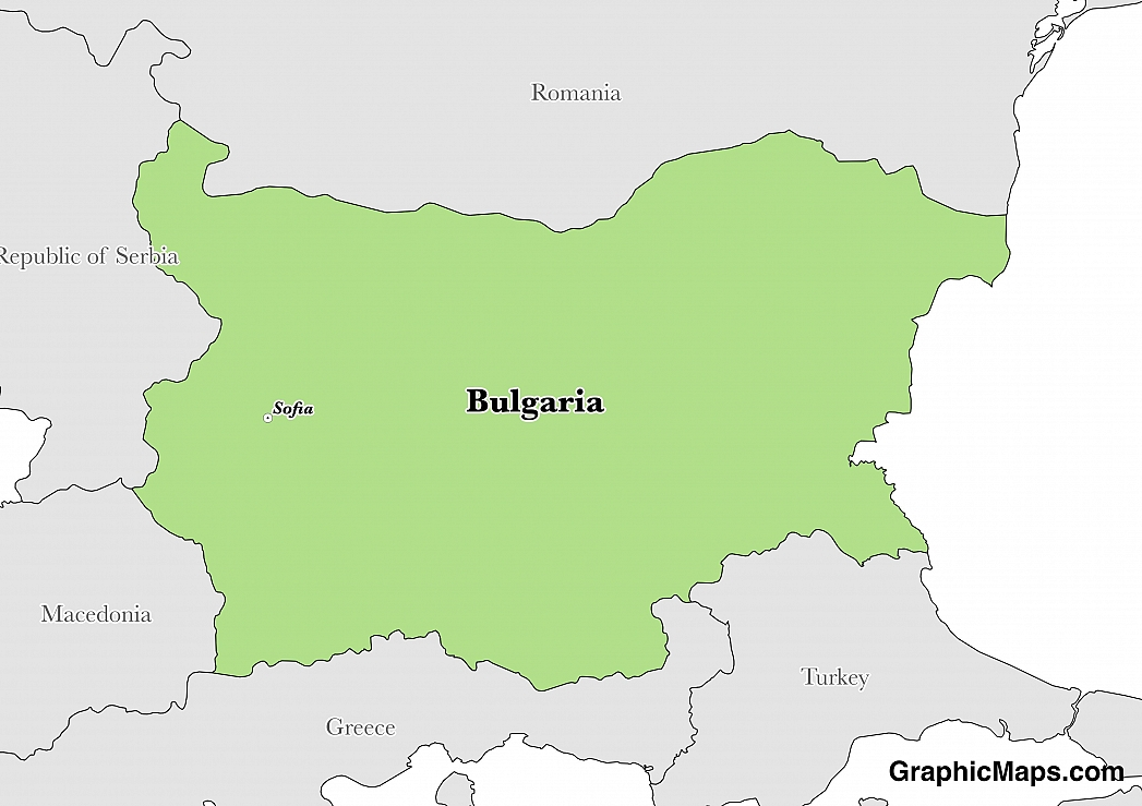 Map showing the location of Bulgaria