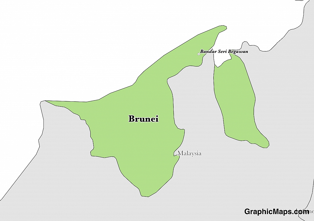 Map showing the location of Brunei