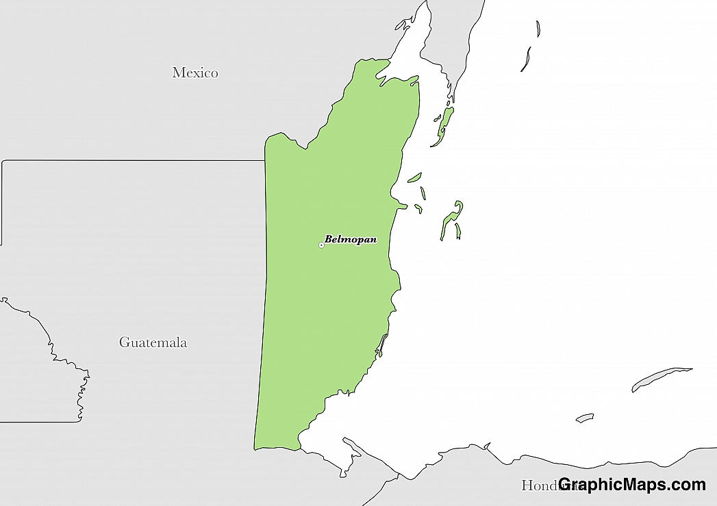 Map showing the location of Belize