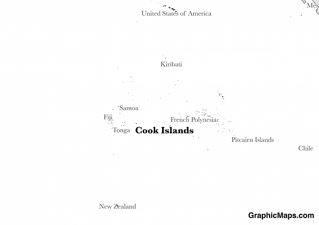 Map showing the location of Cook Islands