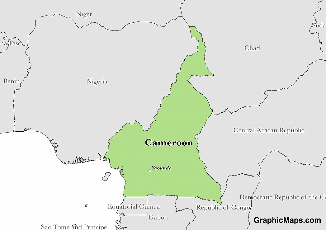 Map showing the location of Cameroon