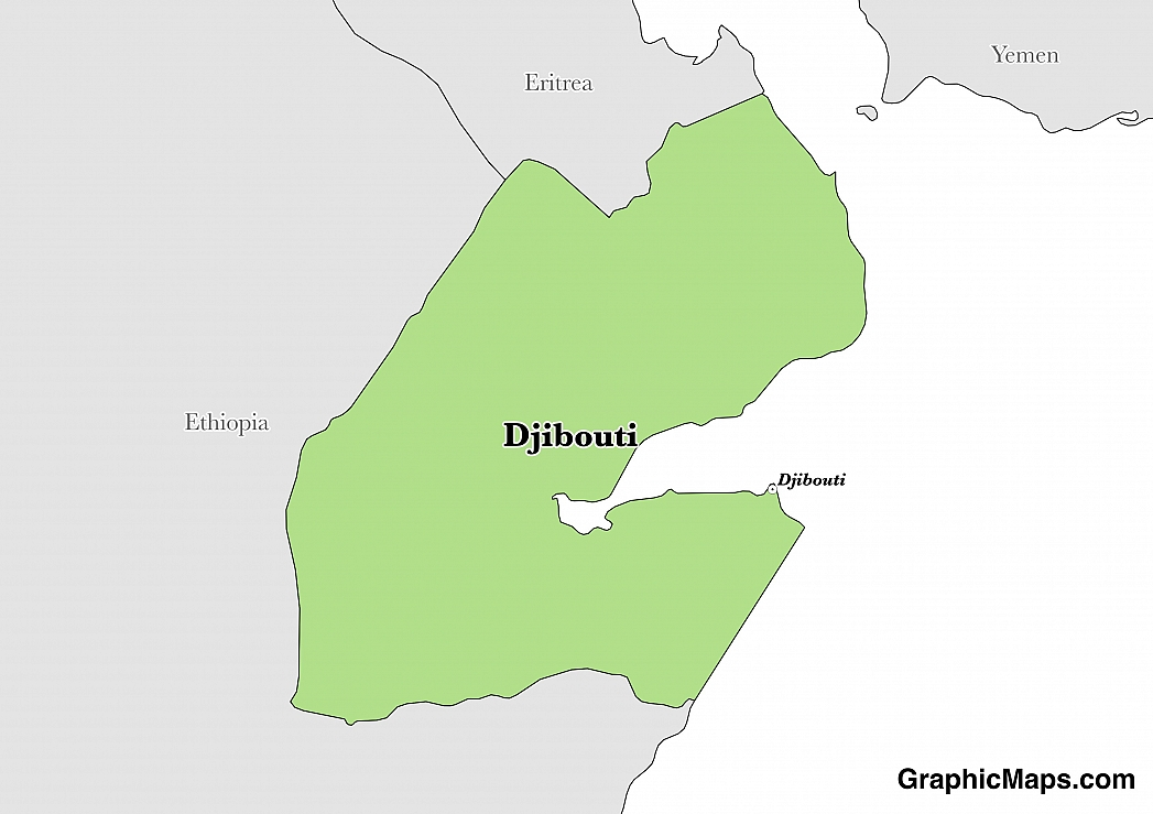 Map showing the location of Djibouti