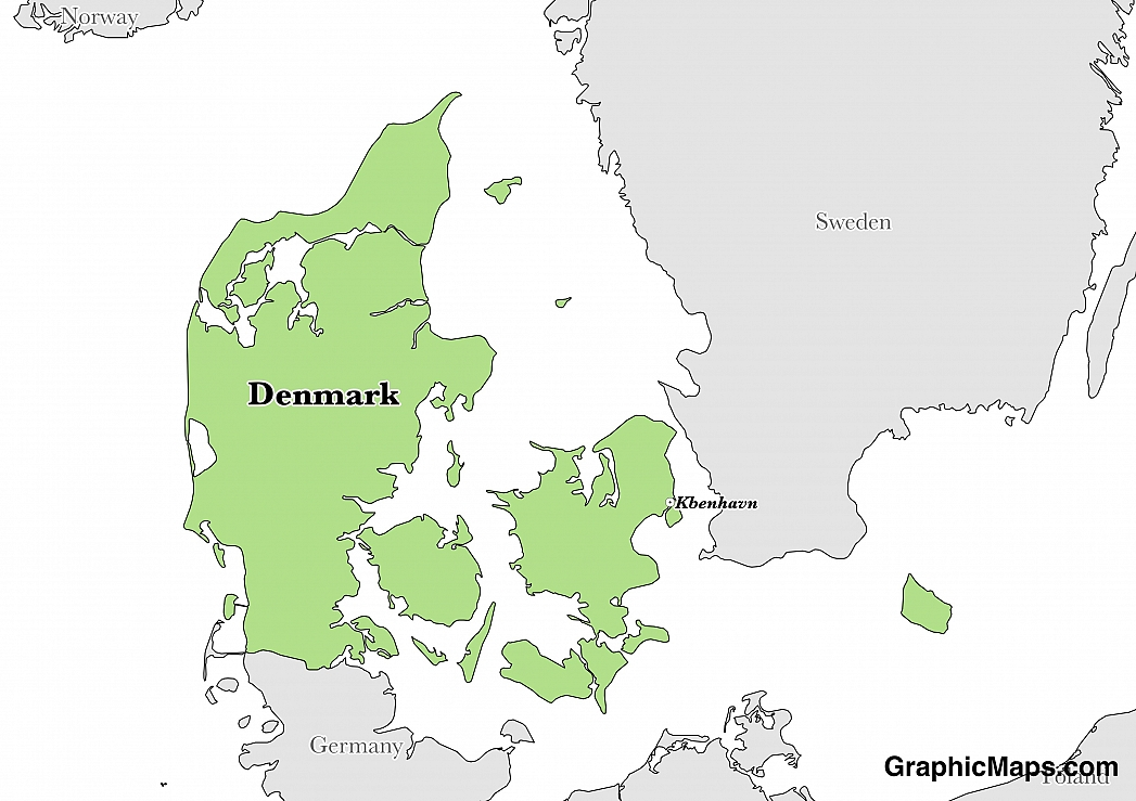 Map showing the location of Denmark