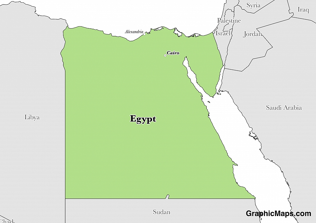 Map showing the location of Egypt