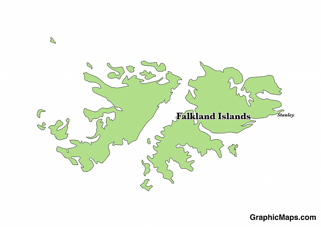 Map showing the location of Falkland Islands