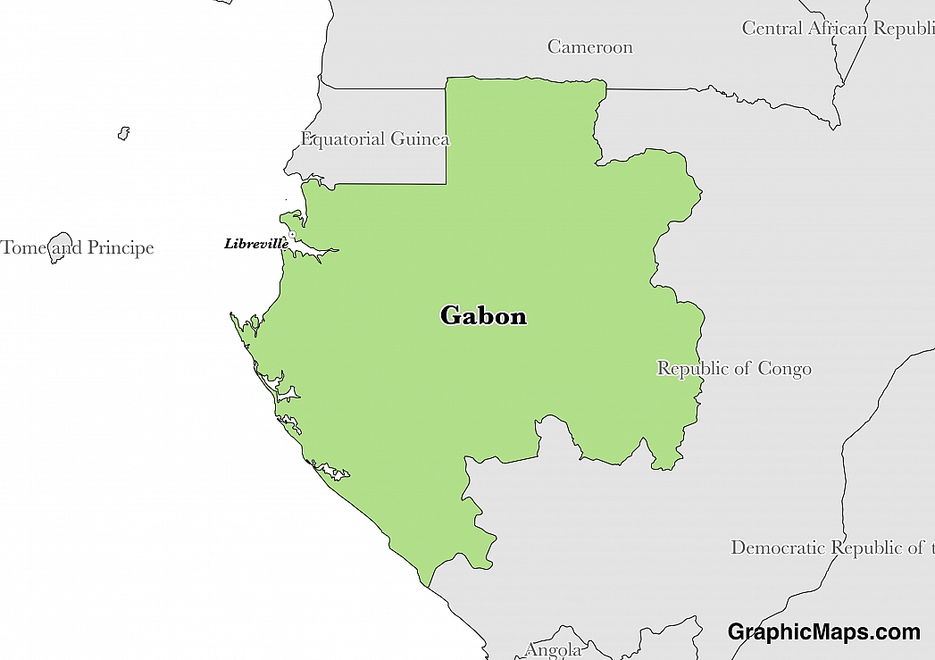 Map showing the location of Gabon