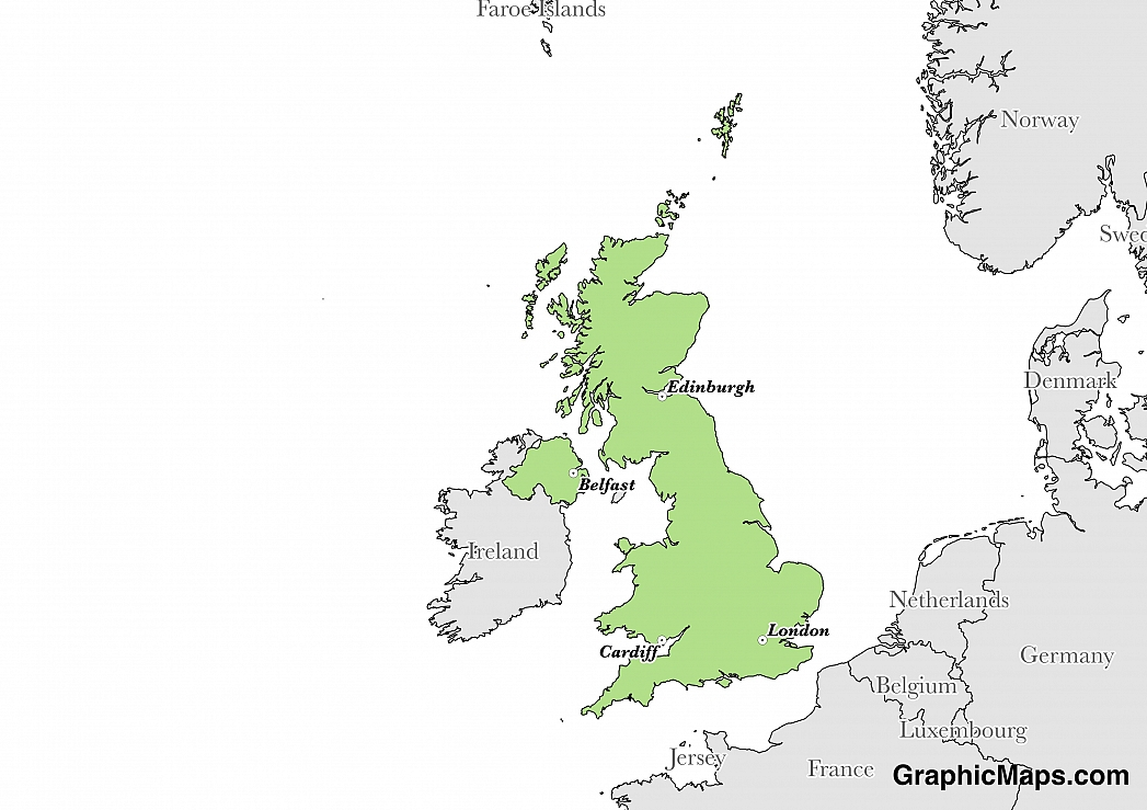 Map showing the location of United Kingdom