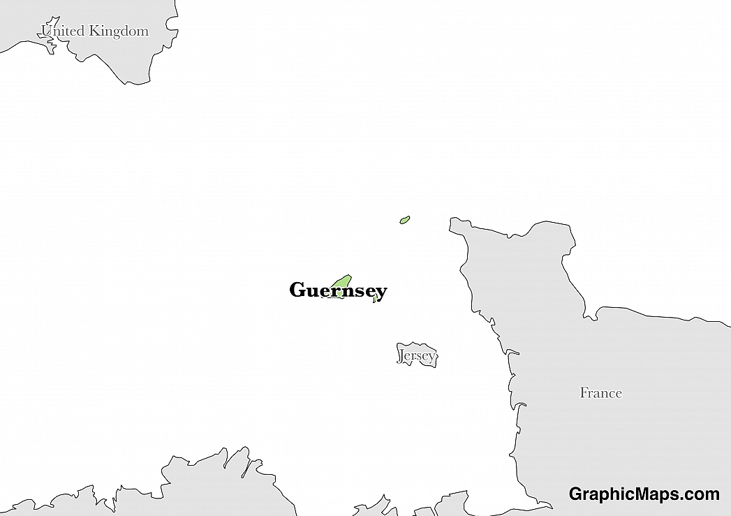 Map showing the location of Guernsey