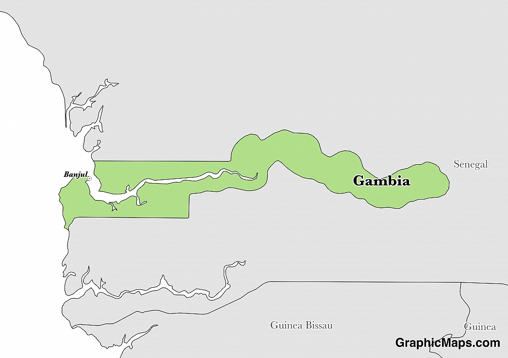 Map showing the location of Gambia