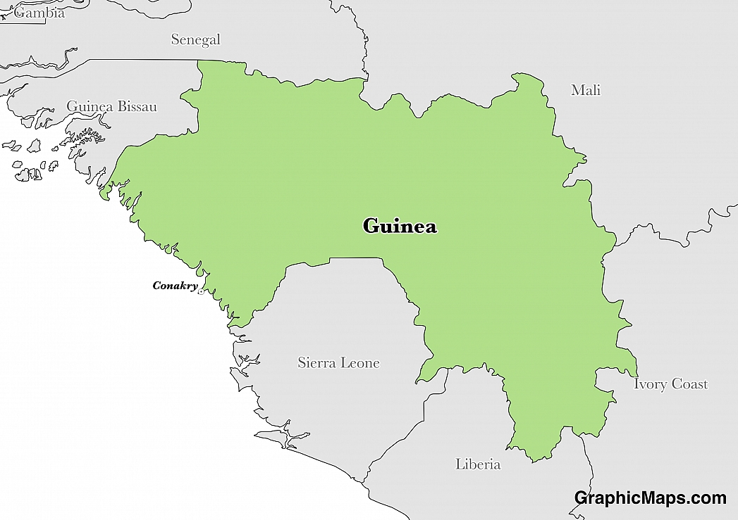 Map showing the location of Guinea
