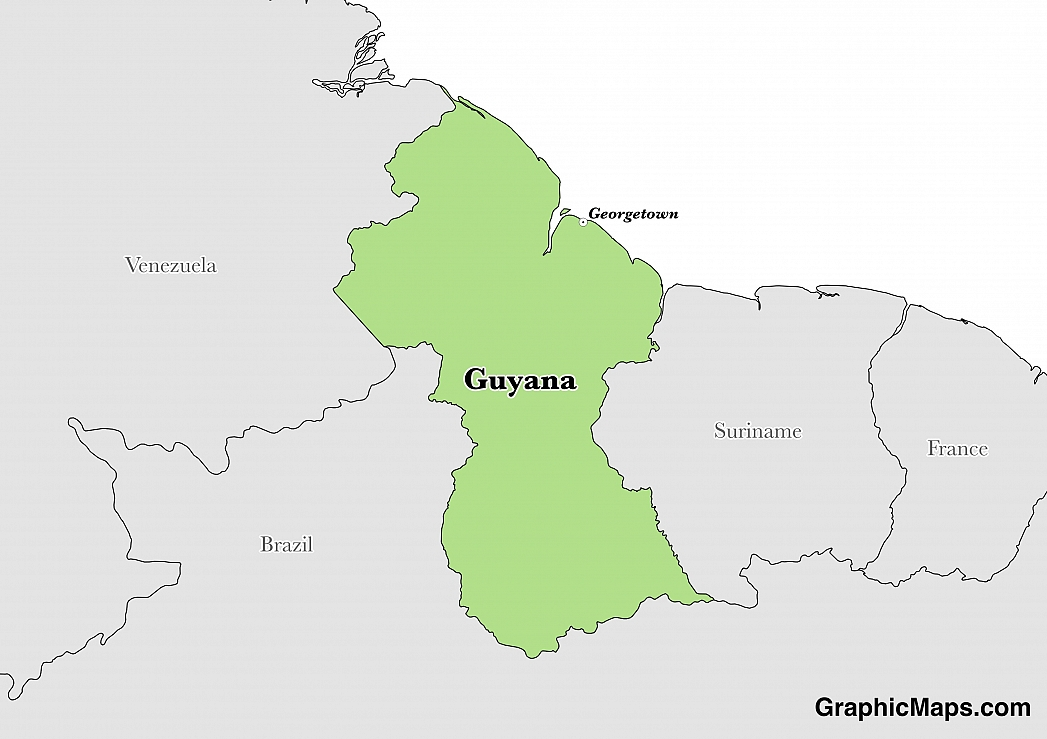 Map showing the location of Guyana