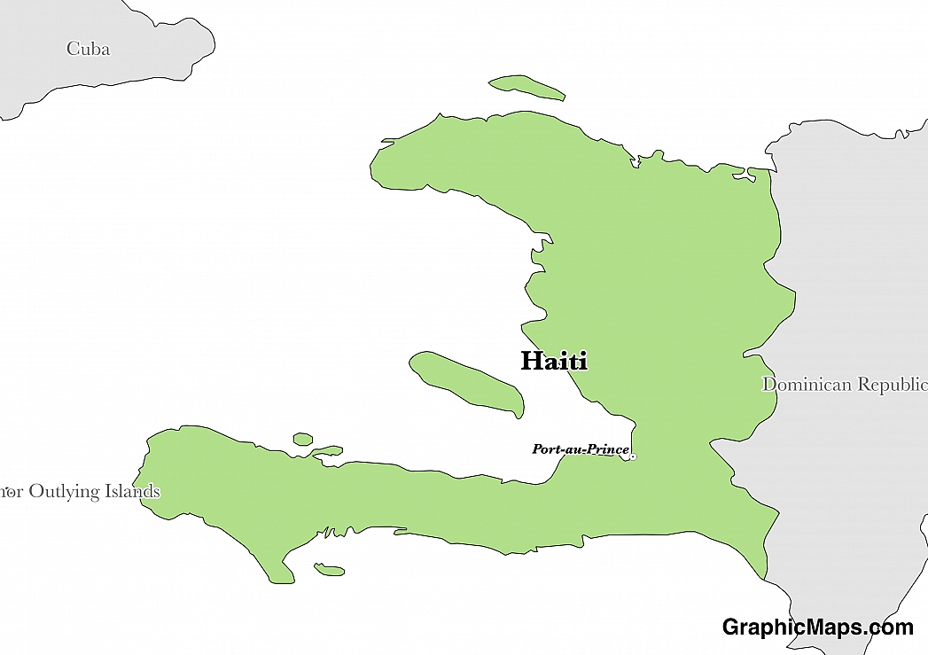 Map showing the location of Haiti