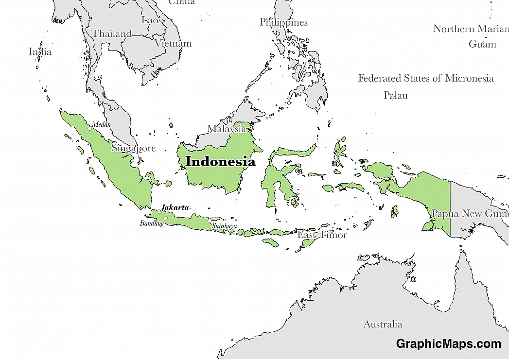 Indonesia graphicmaps map showing the location of indonesia gumiabroncs Images