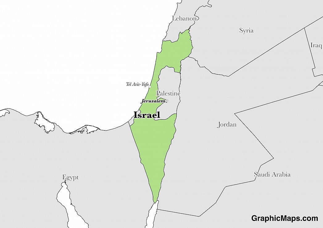 Map showing the location of Israel