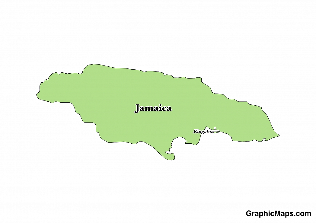 Map showing the location of Jamaica