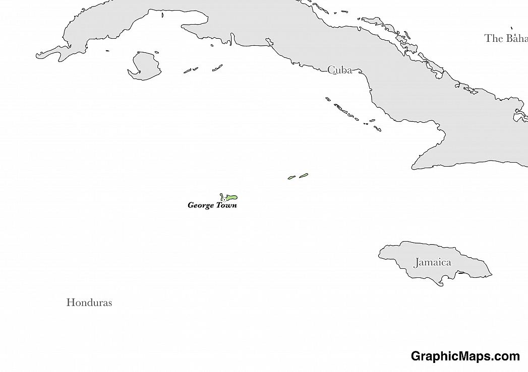 Map showing the location of Cayman Islands