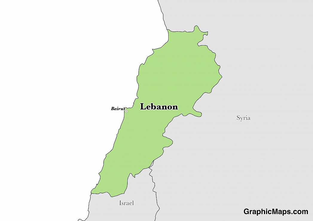 Map showing the location of Lebanon