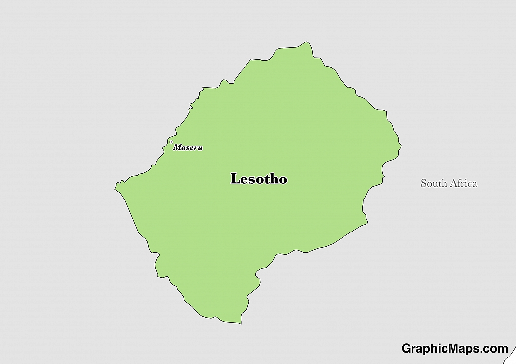 Map showing the location of Lesotho