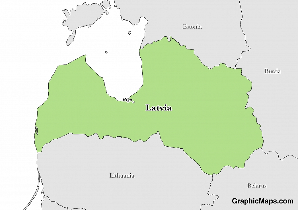 Map showing the location of Latvia
