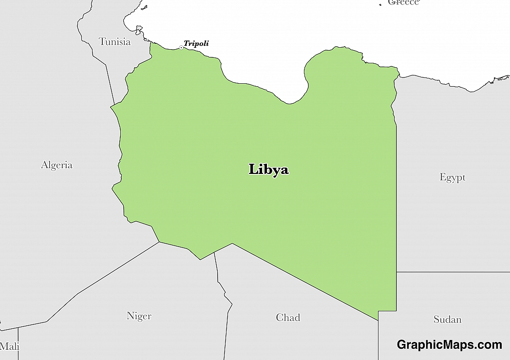 Map showing the location of Libya