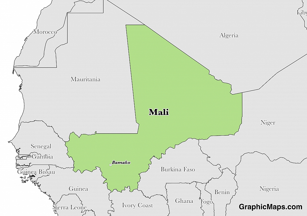 Map showing the location of Mali