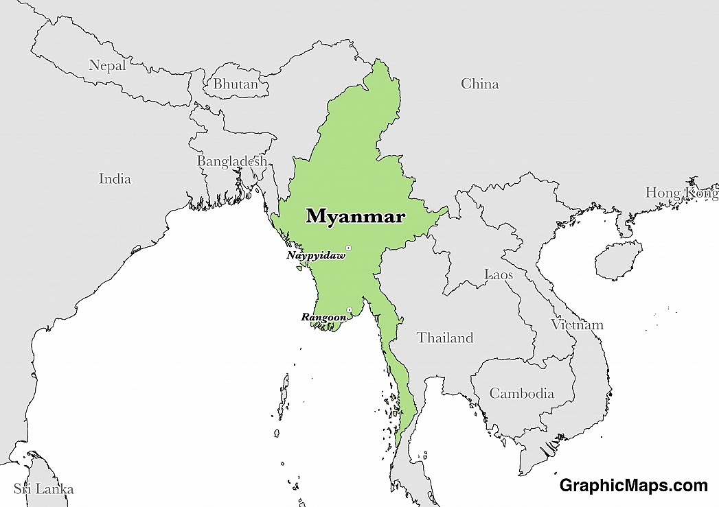 Map showing the location of Myanmar