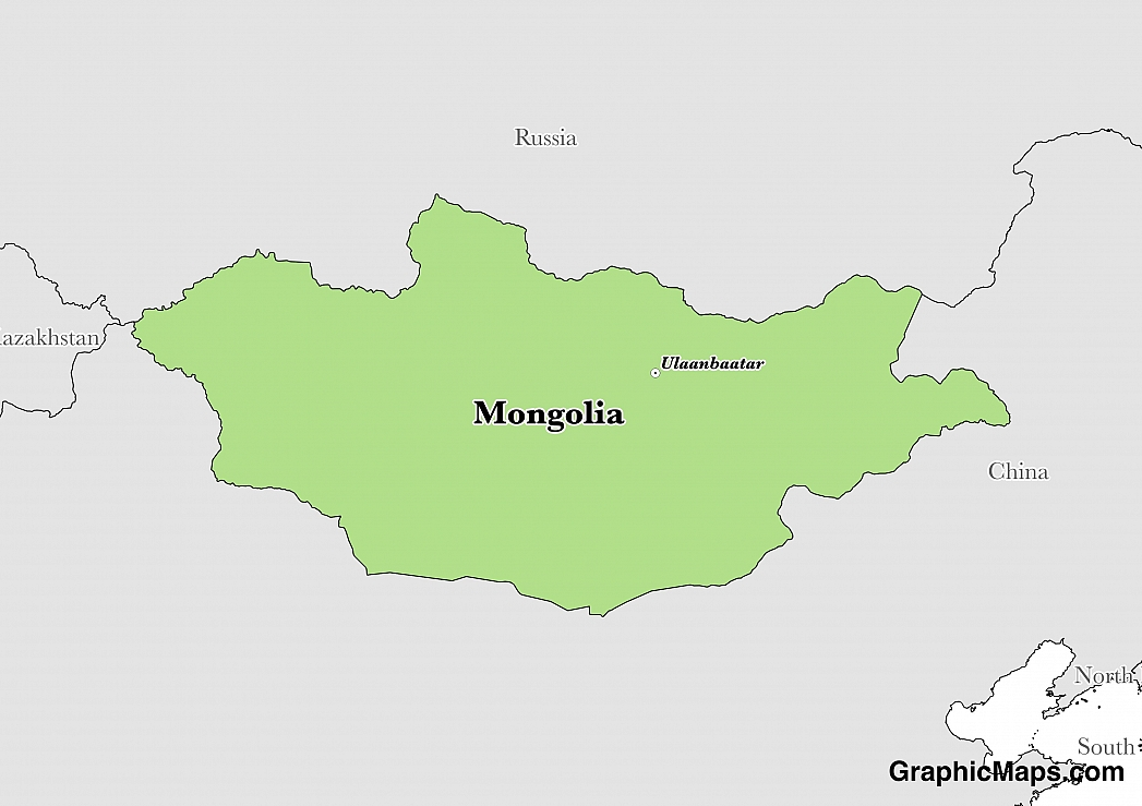 Map showing the location of Mongolia
