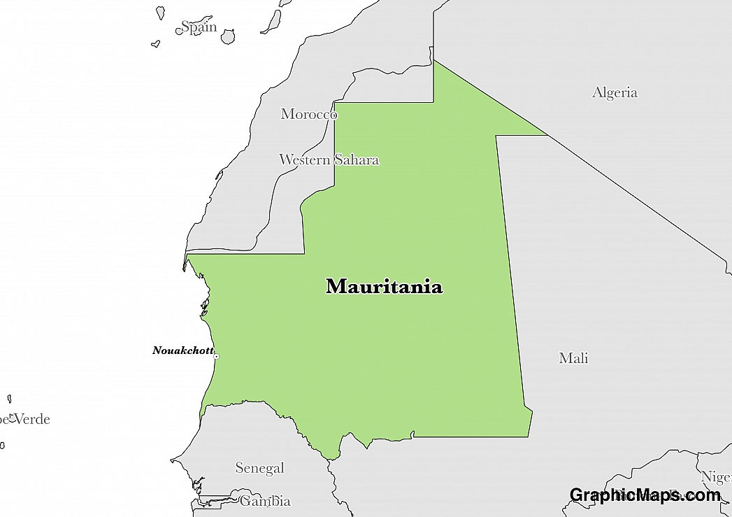 Map showing the location of Mauritania