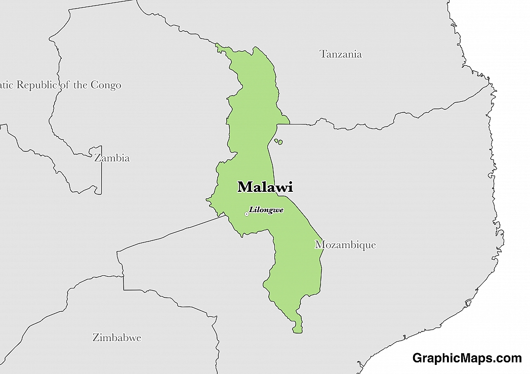 Map showing the location of Malawi