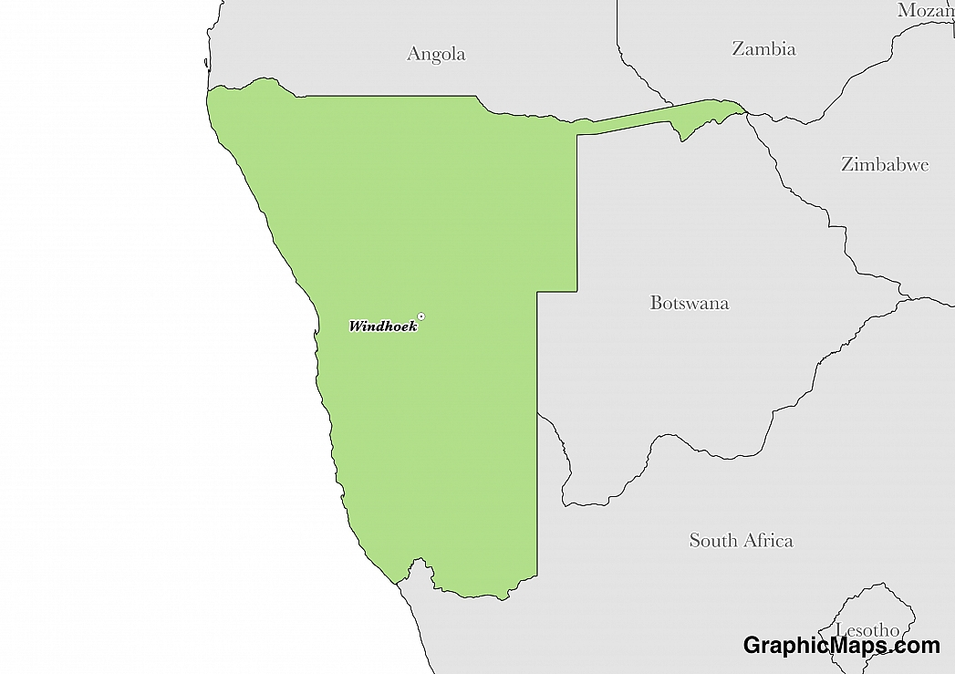 Map showing the location of Namibia