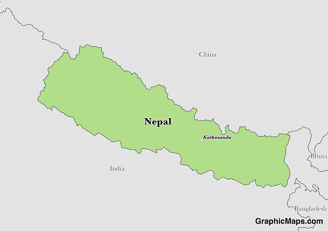 Map showing the location of Nepal