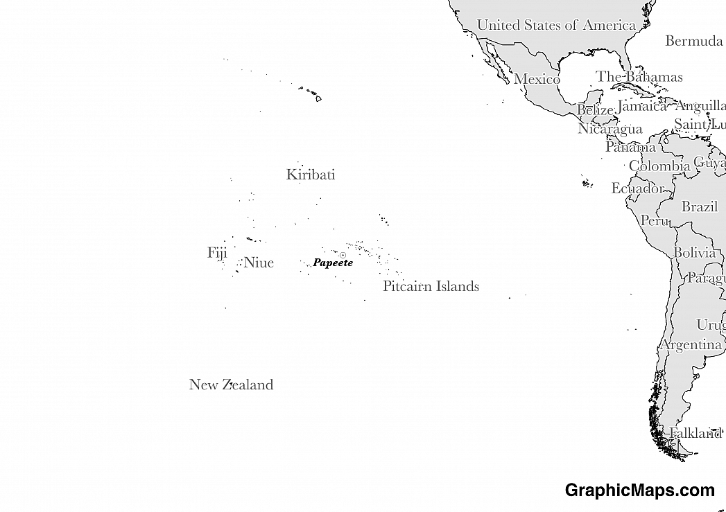 Map showing the location of French Polynesia