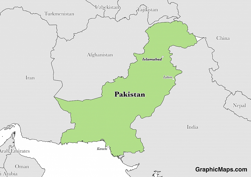 Map showing the location of Pakistan