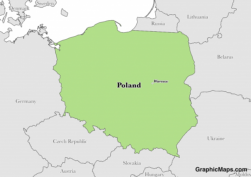 Map showing the location of Poland