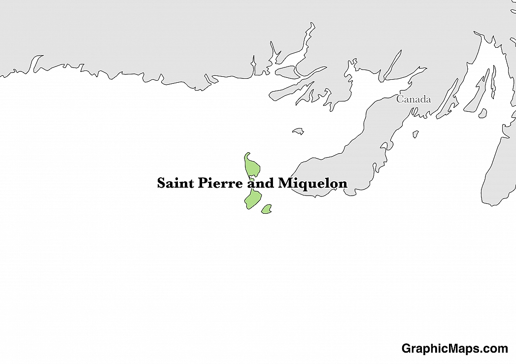 Map showing the location of Saint Pierre and Miquelon