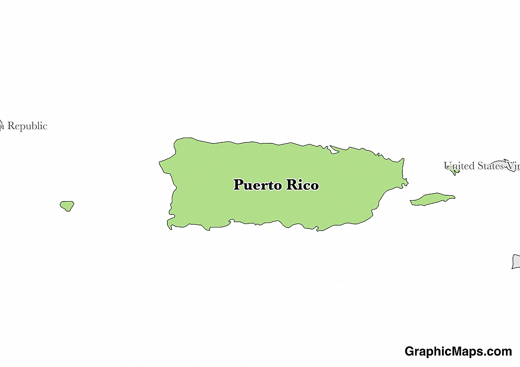 Map showing the location of Puerto Rico