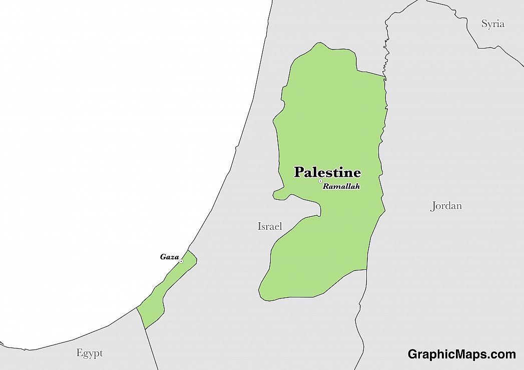 Map showing the location of Palestinian Territory
