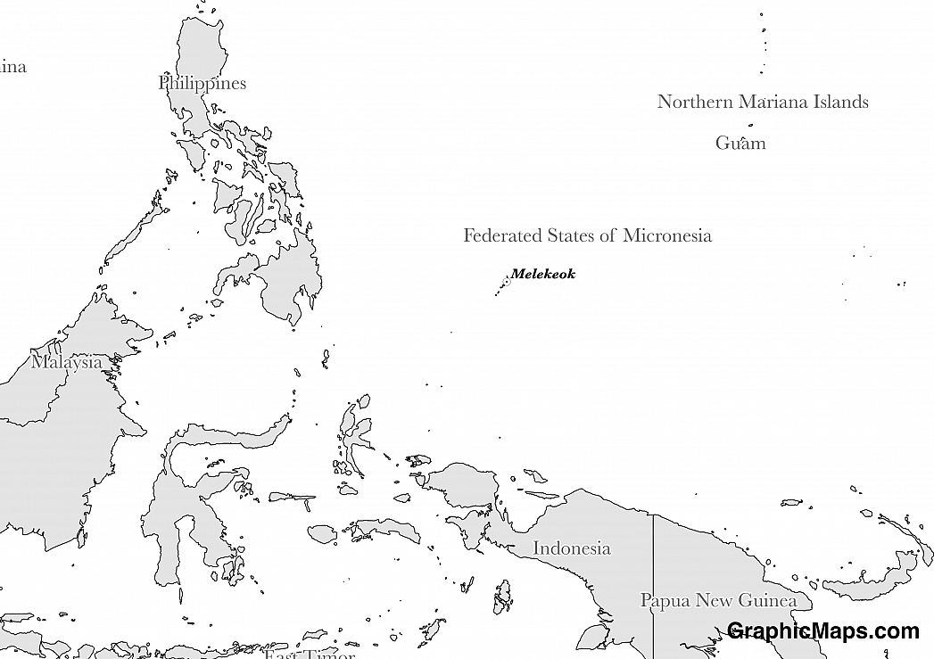 Map showing the location of Palau