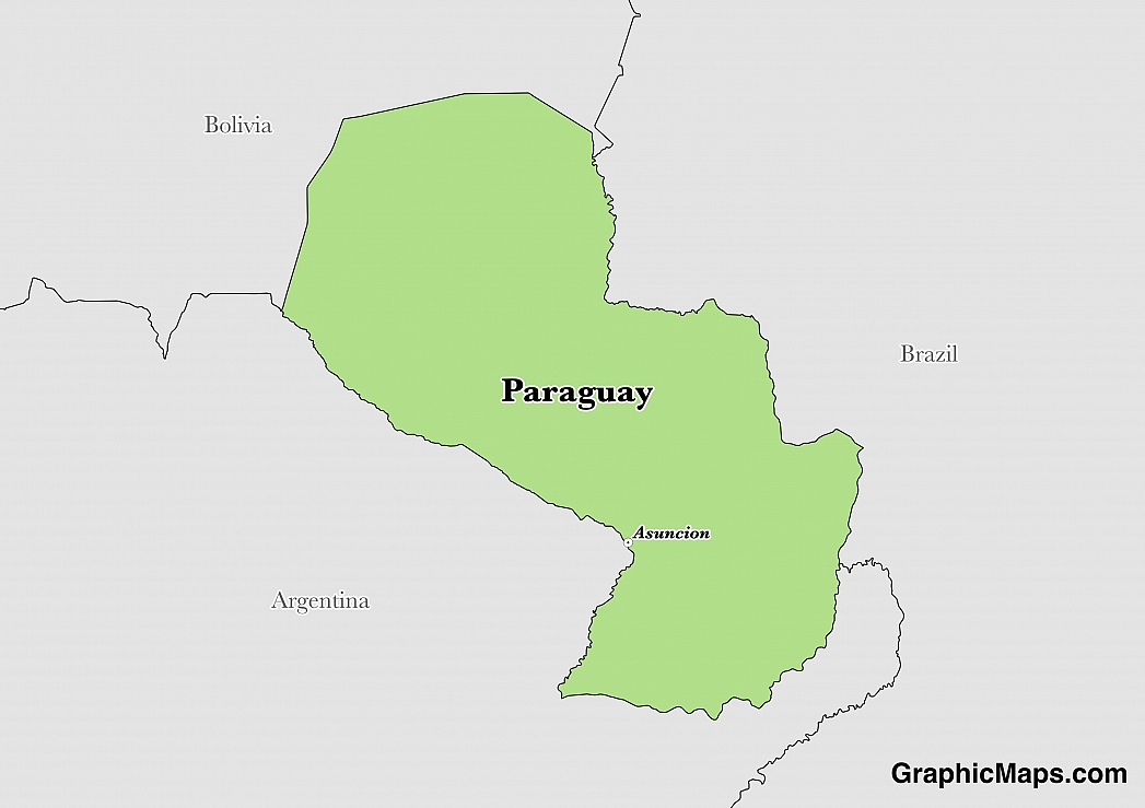 Map showing the location of Paraguay