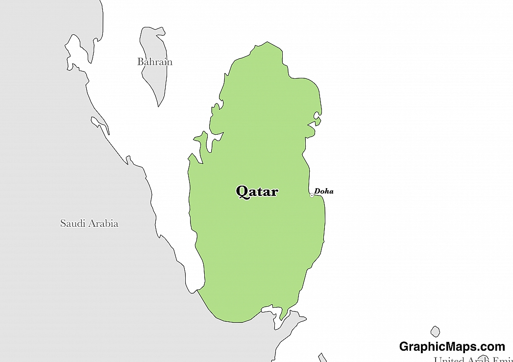 Map showing the location of Qatar