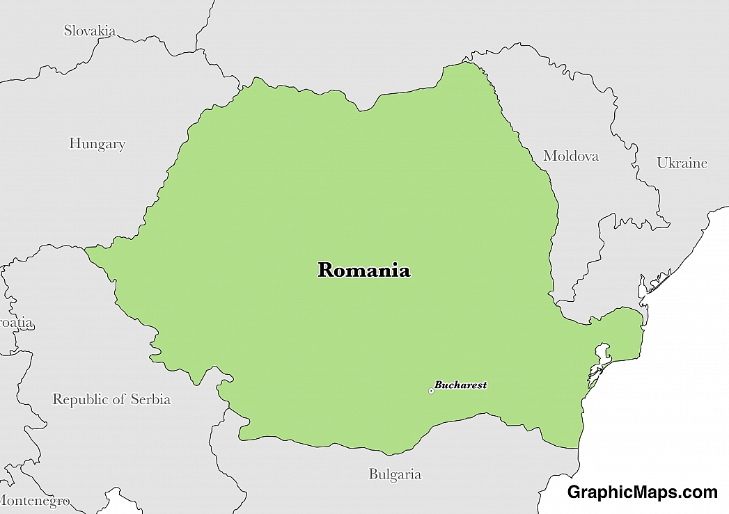 Map showing the location of Romania