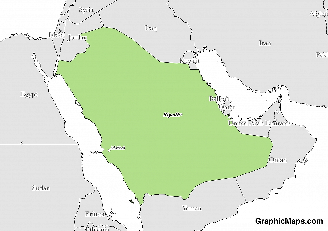 Map showing the location of Saudi Arabia